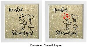 He Asked She Said Yes Vinyl Sticker For Box Frameshadow Frame