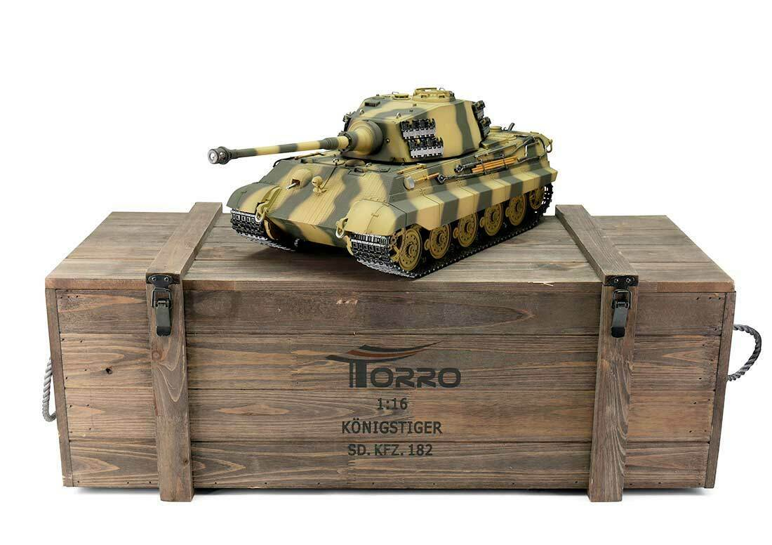 Torro 1 16 RC German WW2 King Tiger Tank RTR Metal Pro Edition Wooden Box