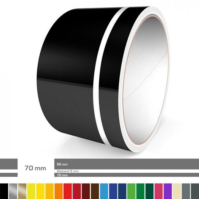 Doppel-Zierstreifen 70 mm ver. Farben für Auto Motorrad Wohnmobil Modellbau