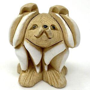 Vtg 1980s Artesania Rinconada Brown White Dog Figurine Uruguay Retired Signed