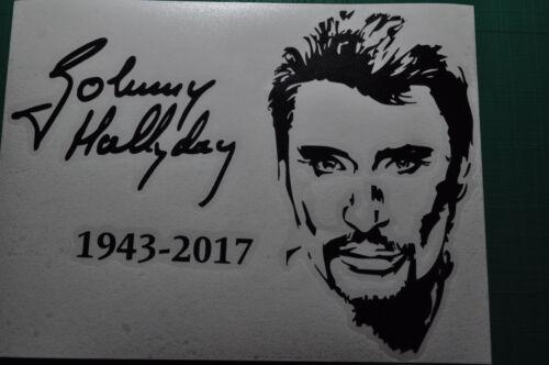 Sticker autocollant Johnny Hallyday signature,Rip Hommage souvenirs 14x19cm