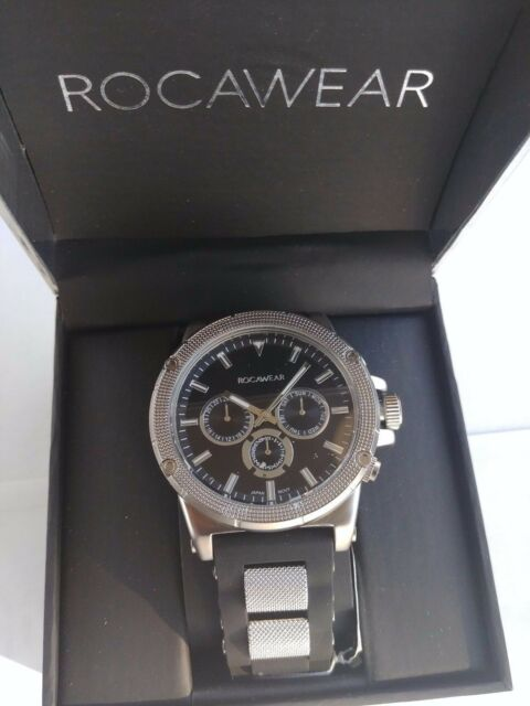 Mens Rocawear Black Multifunction Silicone Mesh Bullet Strap Watch