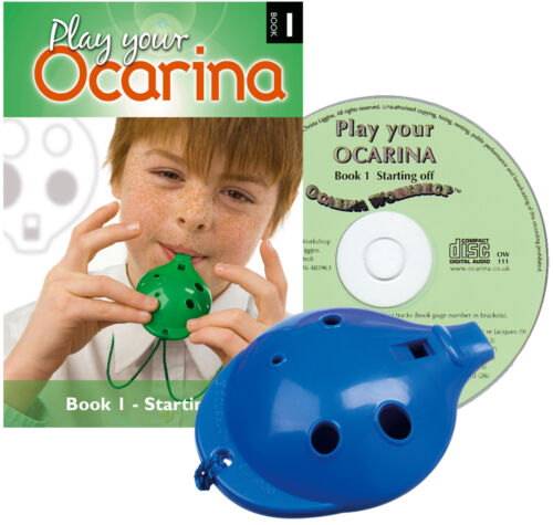 4-hole plastic OCARINA with Book 1 /& play-along CD 6 colours