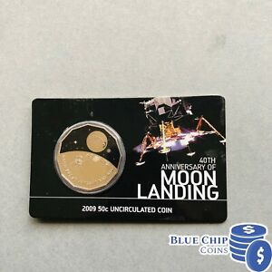 2009-UNC-50c-40TH-ANNIVERSARY-OF-MOON-LANDING-COIN-ON-CARD