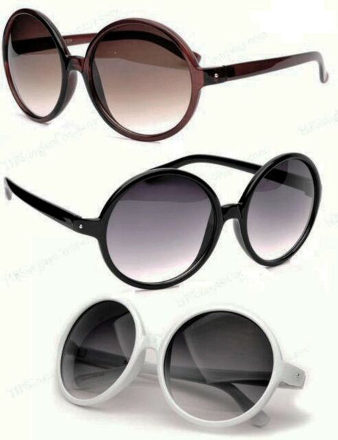 Very Large Round Sunglasses Black Brown or Tortoise Frame Gradient Lenses