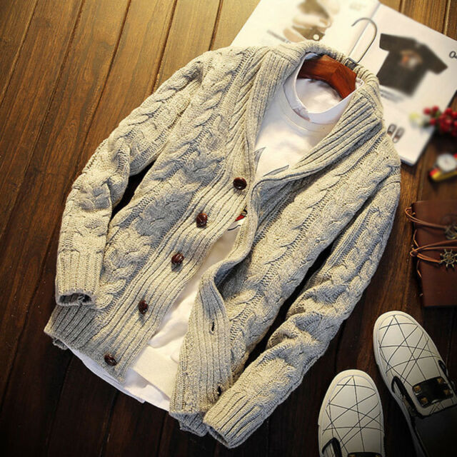2019 Men Chunky Cable Shawl Collar Cardigan Thicken Warm Sweater Knitted Jumper