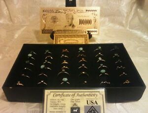 lt-Make-an-OFFER-gt-25Pc-MIXED-Size-amp-Style-RINGS-MINT-GOLD-100K-Banknote-W-COA-US