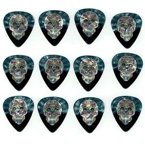 12-Pack-DAY-DEAD-SUGAR-SKULL-Pearl-Medium-Gauge-Guitar-Picks-Plectrum