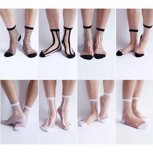 Frauen Damen Socken Ultradünne Transparente Kristall Spitze Elastische YE