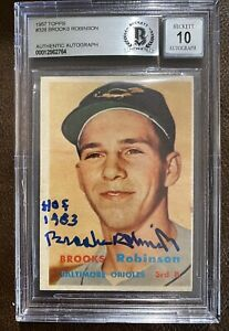 Brooks Robinson Auto Signed 1957 Topps Rookie BGS BAS Authentic Auto Grade 10