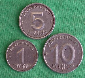 3-MONEDA-Aleman-1948A-PFENNIG-5-and-10-Alemania-ALUMINIO-MONEDA-LOTE