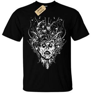 Demon-Head-T-Shirt-Uomo-Gotico-Rock-Horror-Teschio-Zombie-Spaventosa-Scheletro