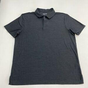 Cool Keep Polo Shirt Mens 2XL XXL Short Sleeve Black Gray Casual Polyester Blend