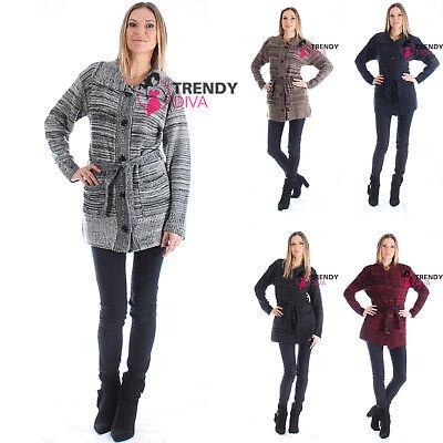 Long Boyfriend Cable Knitted Cardigan Grandad Top Button Plus Size 10 - 22 Xxxl