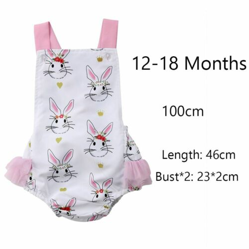 Baby Sleeveless Floral Flowers Girls Rompers Jumpsuit Bunny Rabbit Printed