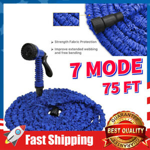 "75ft Lightweight Expandable Garden Water Hose W/ 7 Function Nozzle,3/4"" Fittings"