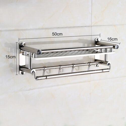 Bathroom Towel Storage Rack Holder Wall Mounted Stainless Steel 50//60cm 4 Hooks