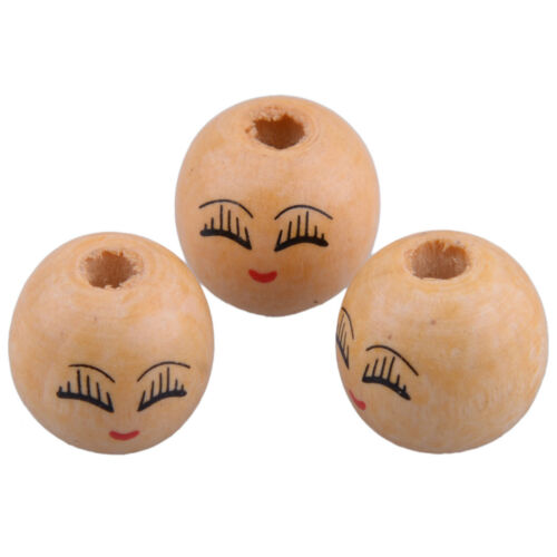 20x Wooden Round Painted Smile Face /& Eyebrows Loose Craft Beads Charm 18mm x4mm