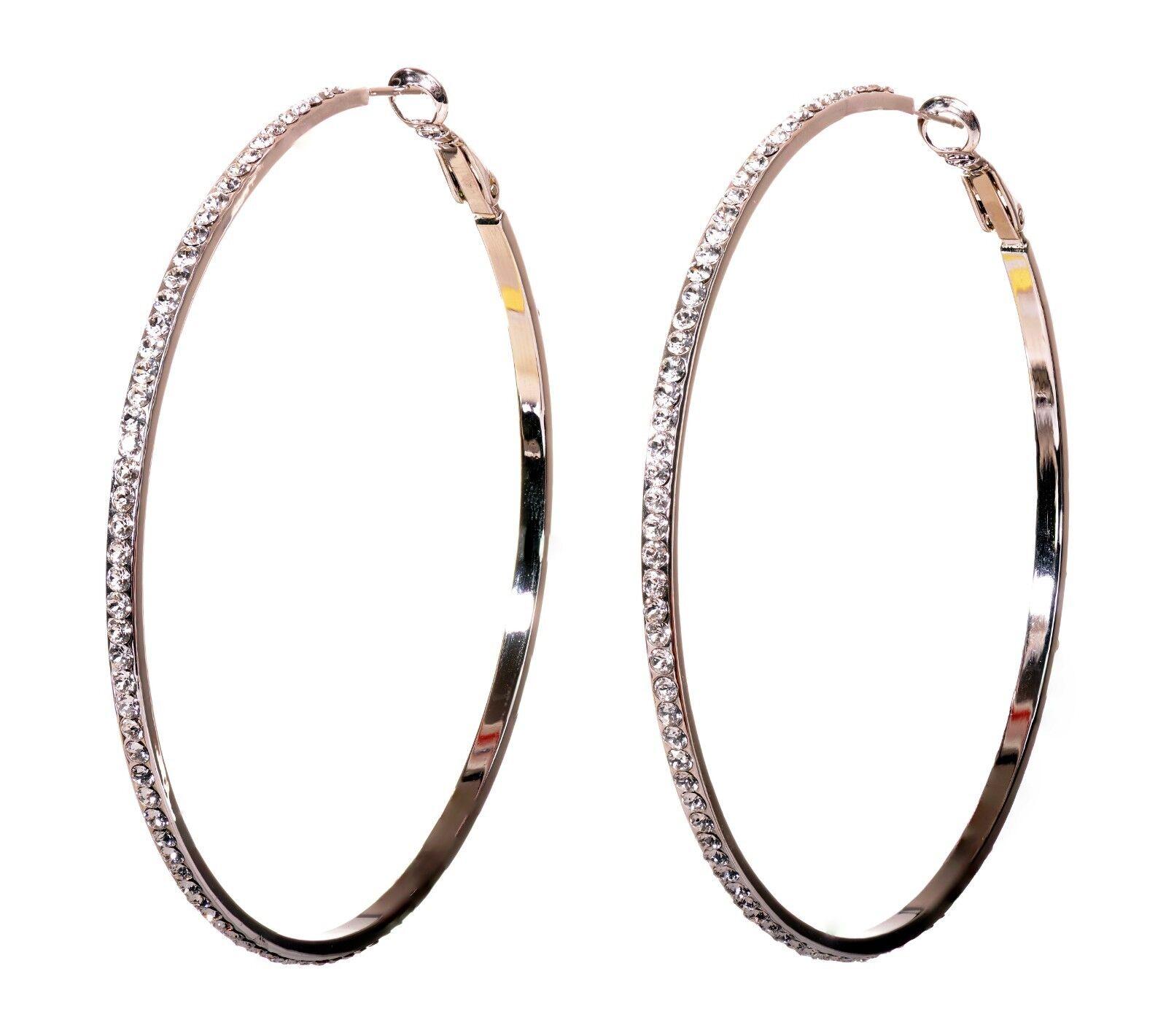 Swarovski Elements Crystal 2 3 4  Somerset Hoop Earrings Rhodium Authentic 7983z