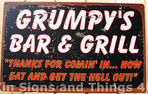 Grumpy-039-s-Bar-amp-Grill-TIN-SIGN-funny-vtg-metal-kitchen-wall-home-decor-rustic-OHW