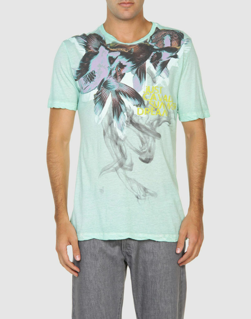 NWT JUST CAVALLI BY ROBERTO CAVALLI  sz 40 42 Tee With Fish Flower Print T-hemd