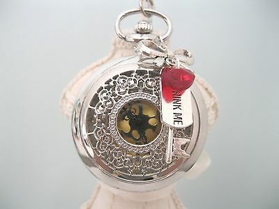 """New """"Alice in Wonderland""""Large Silver Tone Drink Me Pocket Watch Chain Necklace"""