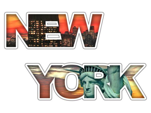 Wandsticker Sticker Aufkleber für Wohnzimmer Schriftzug New York Freiheitstatue