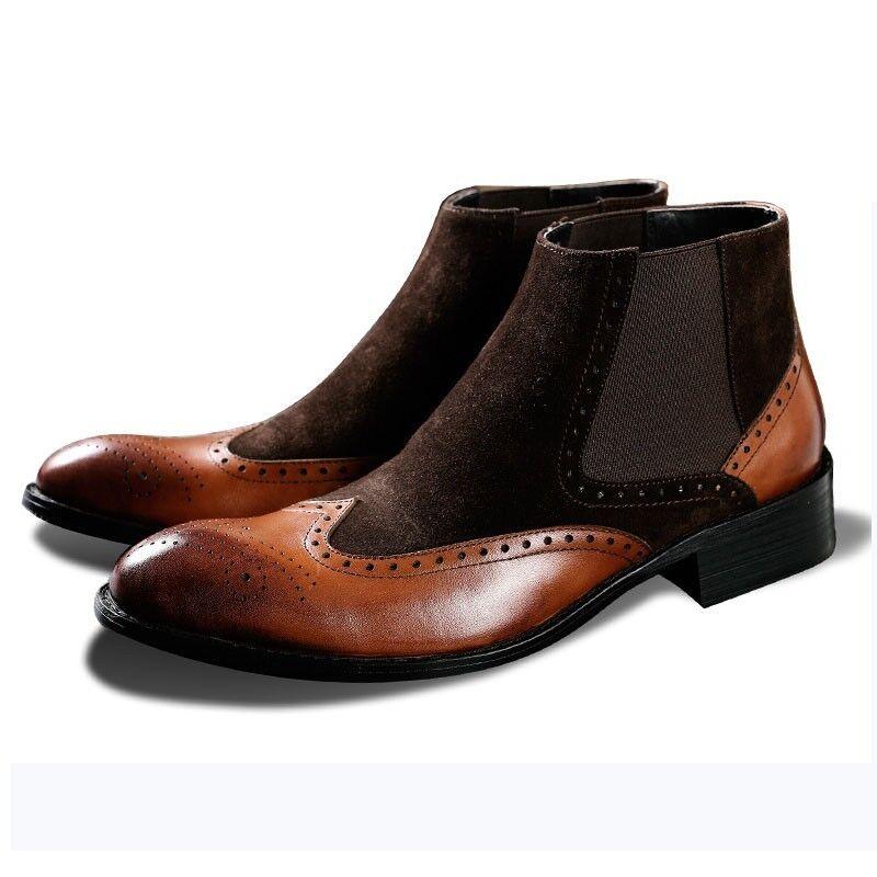 Nuevo vestido de hombre retro de extremo de ala Genuino Cuero Zapatos De Negocios Punta rojoonda Botín
