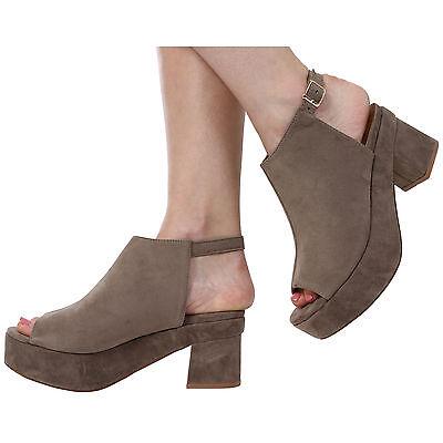 Para Mujer Damas Open Toe Block talón correa de tobillo Sandalias Zapatos Talla 3-8