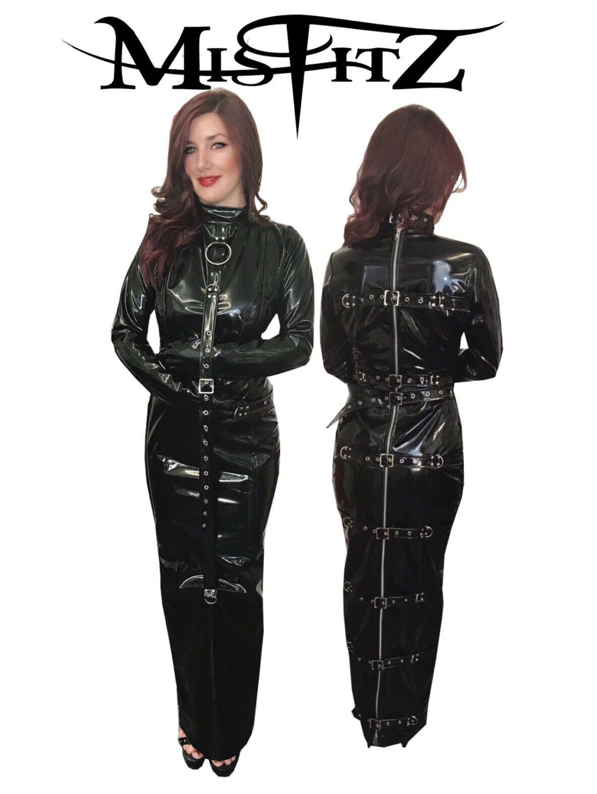 Misfitz NERA IN PVC PASTOIA Fibbia ritenuta Dress 8-32 MADE TO MEASURE TV CD Goth