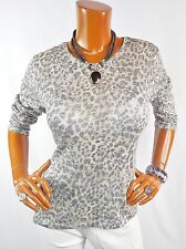 CHICO'S Sz 2 Top M L Knit Shirt Animal Print Metallic Summer Blouse Casual