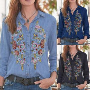 ZANZEA-Womens-Long-Sleeve-Demin-Shirt-Casual-Loose-Buttons-Tops-Blouse-Plus-Size