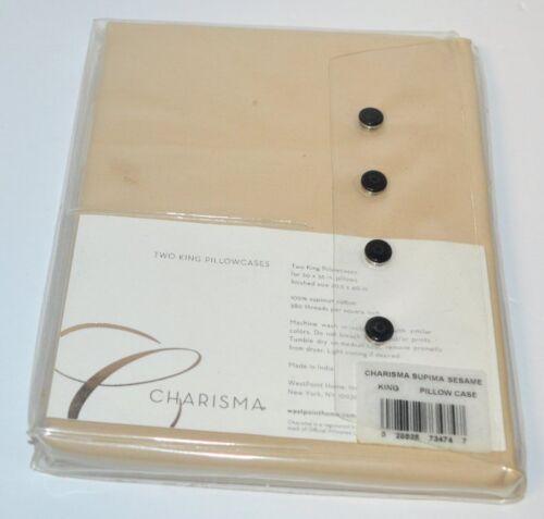 Charisma Supima Cotton Sesame King Pillowcases Set New 380TC