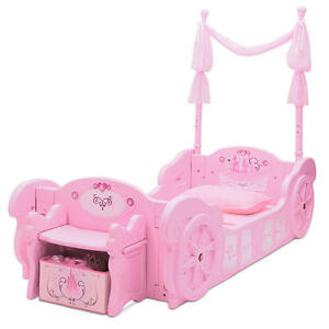 Details About Disney Princess Carriage Toddler To Twin Conversion Bed W/  Storage Bench (Pink)