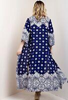 Kimono Blue White Maxi Duster Coat Semi Sheer Gypsy Bandana Print Easy Fit S
