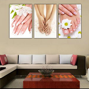 Image Is Loading 3pc Hd Canvas Print Picture Painting Spa Nail