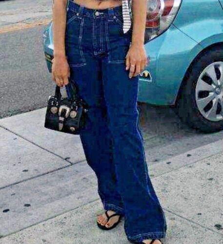 Womens Revolt Retro Carpenter Painter Wide Leg Denim High Waist Jeans
