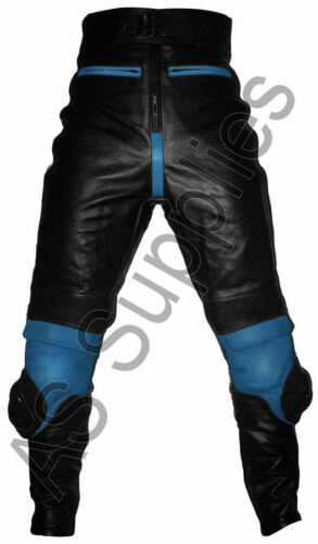 "/""LUCKY STRIKE/"" New Black//Blue Leather Motorcycle Trousers Pants All sizes!"