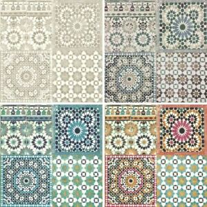 Image Is Loading Grandeco Botanical Moroccan Tile Pattern Wallpaper Retro Floral