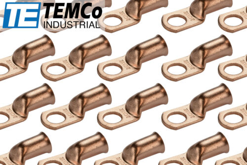 """25 Lot 2//0 1//2/"""" Hole Ring Terminal Lug Bare Copper Uninsulated AWG Gauge"""