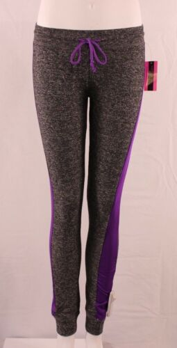 Material Girl Juniors Contrast French Terry Fleece Purple Party Leggings #3800