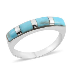 925-Sterling-Silver-Turquoise-Band-Ring-Southwest-Jewelry-for-Women-Cttw-3-5