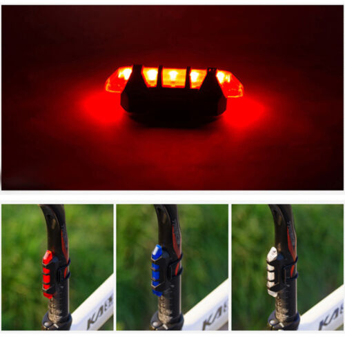 New Cycling 5 LED USB Rechargeable Bike Bicycle Tail Warning Light Rear Safety L