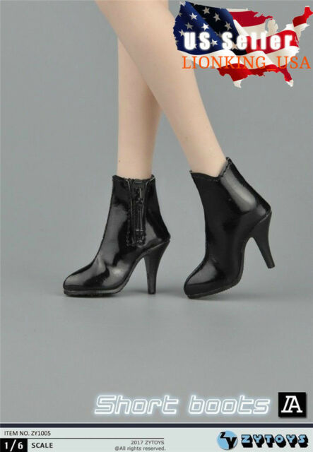 "1//6 Women Leather Ankle Boots Black For 12/"" Phicen Hot Toys Female Figure ❶USA❶"