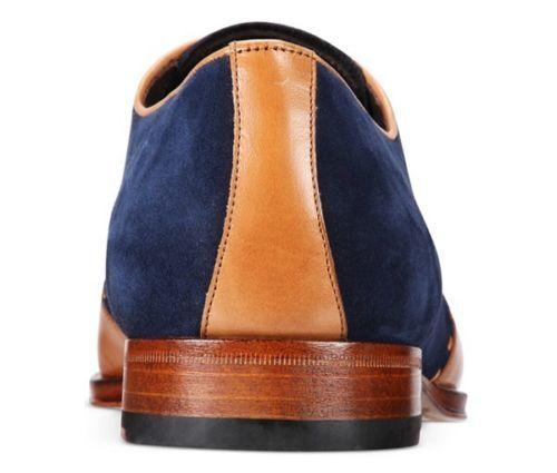 cerimonia a fatto Uomo e marrone scamosciata in chiaro mano vestibilit da blu nuovo pelle navy scarpe aEFF6