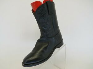 JUSTIN-Black-Leather-Roper-Cowboy-Western-Boots-Youth-Size-6-D