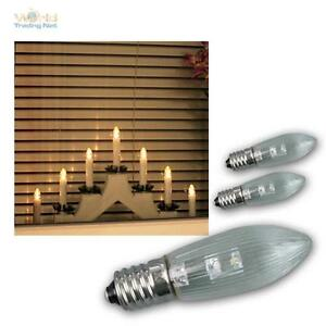 3-x-LED-E10-Gluehbirne-Topkerze-Spitzkerze-Riffelkerze-Ersatz-warmweiss-E1-0-0-2W