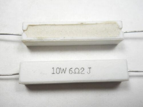D4 6.2 ohm 10 Watt 5/% Cement Power Resistor QTY 10 ea NOS,New Old Stock