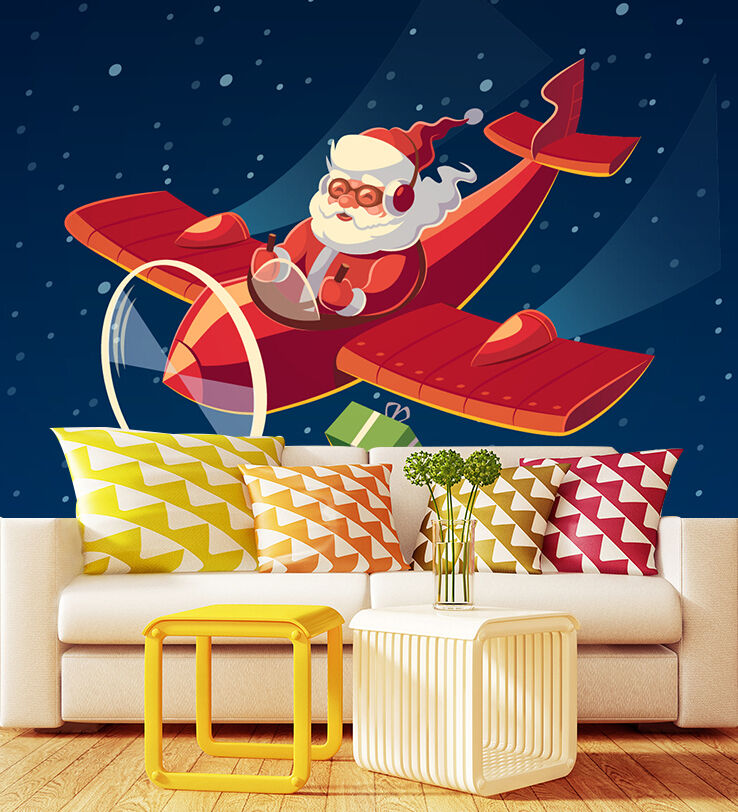 3D Santa's plane 533 Wall Paper Wall Print Decal Wall Indoor wall Murals