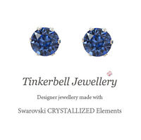 925 Sterling Silver 1 Carat 6mm Stud Earrings w Swarovski Sapphire Blue Crystals